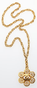"Luxury Accessories:Accessories, Chanel Gold CC Flower Necklace . Very Good Condition .13"" Length . ..."