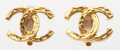 "Luxury Accessories:Accessories, Chanel Gold CC Earrings . Very Good to Excellent Condition . 1"" Width x 1"" Height . ..."