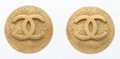 "Luxury Accessories:Accessories, Chanel Gold Round CC Earrings . Good Condition . 1"" Widthx 1"" Height . ..."