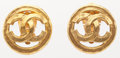 "Luxury Accessories:Accessories, Chanel Hammered Gold CC Earrings . Very Good Condition.1"" Width x 1"" Length. ..."