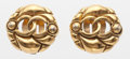 "Luxury Accessories:Accessories, Chanel Textured Gold CC Earrings. Good to Very Good Condition. 1"" Width x 1"" Height. ..."