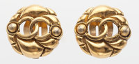"Chanel Textured Gold CC Earrings Good to Very Good Condition 1"" Width x 1"" Height"