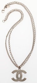 "Luxury Accessories:Accessories, Chanel Silver Double CC Strand Necklace. Very Good Condition. .5"" Width x 16"" Length. ..."