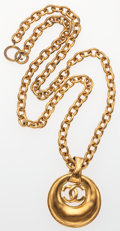 "Luxury Accessories:Accessories, Chanel Gold CC Crescent Necklace. Good to Very GoodCondition. 2"" Width x 31"" Length. ..."