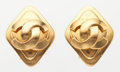 "Luxury Accessories:Accessories, Chanel Gold CC Earrings. Very Good Condition. 1"" Width x1"" Height. ..."