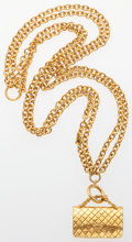 "Luxury Accessories:Accessories, Chanel Gold Chain & Flap Bag Pendant Necklace. Very Good Condition . 15"" Length . ..."