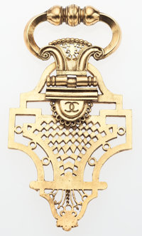 """Chanel Gold Door Knocker Brooch Very Good to Excellent Condition 2"""" Width x 5"""" Height"""