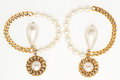 "Luxury Accessories:Accessories, Chanel Gold & Glass Pearl Earrings. Excellent Condition. 3""Width x 2"" Length. ..."