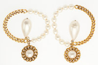 "Chanel Gold & Glass Pearl Earrings Excellent Condition 3"" Width x 2"" Length"