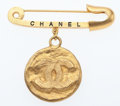 "Luxury Accessories:Accessories, Chanel Gold CC Medallion Safety Pin Brooch. ExcellentCondition. 2"" Width x 3"" Length. ..."