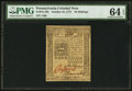Colonial Notes:Pennsylvania, Pennsylvania October 25, 1775 20s PMG Choice Uncirculated 64 EPQ.....