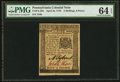 Colonial Notes:Pennsylvania, Pennsylvania April 25, 1776 2s 6d PMG Choice Uncirculated 64 EPQ.....