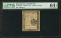 Colonial Notes:Pennsylvania, Pennsylvania April 25, 1776 4d PMG Choice Uncirculated 64 EPQ.. ...