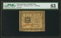 Colonial Notes:Pennsylvania, Pennsylvania October 25, 1775 5s PMG Choice Uncirculated 63.. ...