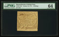 Colonial Notes:Massachusetts, Massachusetts October 16, 1778 4s PMG Choice Uncirculated 64.. ...
