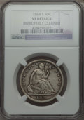 Seated Half Dollars: , 1864-S 50C -- Improperly Cleaned -- NGC Details. VF. NGC Census: (0/53). PCGS Population (3/120). Mintage: 658,000. Numisme...