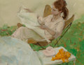 Mainstream Illustration, Al Buell (American, 1910-1996). Girl Reading. Oil on canvaslaid on masonite. 16 x 20 in.. Signed lower right. ...