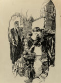 Mainstream Illustration, Joseph Clement Coll (American, 1881-1921). The Confrontation,possible magazine interior illustration. Ink on paper. 15....