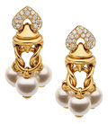 Estate Jewelry:Earrings, Diamond, Cultured Pearl, Gold Earrings, Bvlgari. ...