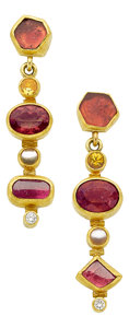 Estate Jewelry:Earrings, Multi-Stone, Diamond, Gold Earrings, Petra Class. ...