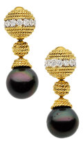 Estate Jewelry:Earrings, Black South Sea Cultured Pearl, Diamond, Gold Earrings, CraigDrake. ...