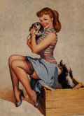 Pin-up and Glamour Art, American Artist (20th Century). Puppy Love. Oil on panel. 16x 12 in.. Not signed. ...