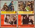 """Movie Posters:Western, Stagecoach (Variety Films, R-1946/Masterpiece, R-1948). Lobby Cards (4) (11"""" X 14""""). Western.. ... (Total: 4 Items)"""