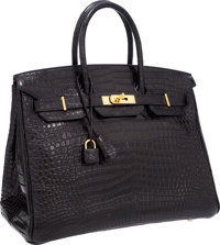 "Hermes 35cm Matte Black Porosus Crocodile Birkin Bag with Gold Hardware Very Good Condition 14"" W"