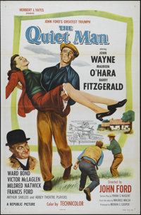 "The Quiet Man (Republic, R-1957). One Sheet (27"" X 41""). Comedy Drama. Directed by John Ford. Starring John Wa..."