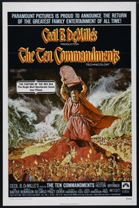 "The Ten Commandments (Paramount, R-1972). One Sheet (27"" X 41""). Religious Epic. Directed by Cecil B. DeMille..."