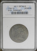 1794 1C Head of 1795--Damaged--ANACS. AG3 Details. S-63. NGC Census: (0/458). PCGS Population (8/418). Mintage: 918,521...
