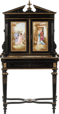 Furniture : French, A French Ebonized Wood and Gilt Bronze Bonheur du Jour withPorcelain Plaques, late 19th century. Plaques signed:Duentin...