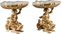 Decorative Arts, French, A Pair of French Gilt Bronze and Frosted Glass Shell-Form Tazzas,20th century. 8 inches high (20.3 cm). ... (Total: 2 Items)