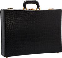 Hermes Matte Black Crocodile Attache Briefcase Bag with Gold Hardware Good Condition 1