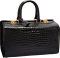 "Luxury Accessories:Bags, Gucci Shiny Black Crocodile Doctor Bag. Good Condition.13"" Width x 7.5"" Height x 9.5"" Depth. ..."