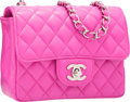 "Luxury Accessories:Bags, Chanel Pink Quilted Lambskin Leather Mini Single Flap Bag withSilver Hardware. Excellent Condition. 6.5"" Width x5.5""..."