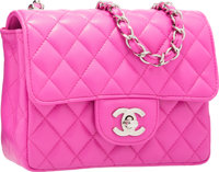 Chanel Pink Quilted Lambskin Leather Mini Single Flap Bag with Silver Hardware Excellent Condition <