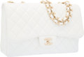 "Luxury Accessories:Bags, Chanel White Quilted Caviar Leather Jumbo Single Flap Bag with GoldHardware. Very Good Condition. 12"" Width x 8"" Heig..."