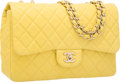 Luxury Accessories:Bags, Chanel Yellow Quilted Lambskin Leather Jumbo Single Flap Bag withSilver Hardware. Very Good to Excellent Condition.1...