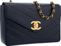 "Luxury Accessories:Bags, Chanel Navy Blue Chevron Quilted Caviar Leather Flap Bag with GoldHardware. Good to Very Good Condition. 12"" Width x..."