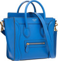 """Luxury Accessories:Bags, Celine Indigo Leather Nano Luggage Tote Bag with Shoulder Strap.Very Good Condition. 8"""" Width x 7.5"""" Height x 4""""Dept..."""