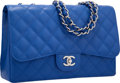 "Luxury Accessories:Bags, Chanel Blue Quilted Caviar Leather Jumbo Single Flap Bag withSilver Hardware. Excellent to Pristine Condition. 12""Wi..."