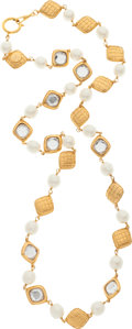 "Luxury Accessories:Accessories, Chanel Crystal, Glass Pearl & Gold Necklace. Very GoodCondition. 18"" Length. ..."
