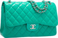 "Luxury Accessories:Bags, Chanel Green Quilted Lambskin Leather Jumbo Double Flap Bag withSilver Hardware. Excellent Condition. 12"" Width x 8""..."