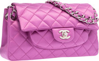 Chanel Purple Quilted Satin Medium Single Flap Bag with Silver Hardware Excellent to Pristine Condition