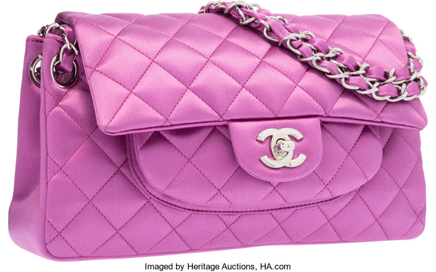 Chanel Purple Quilted Satin Medium Single Flap Bag with  549bc3f35a