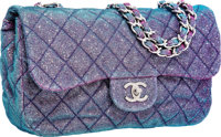 Chanel Blue & Pink Iridescent Canvas East West Flap Bag with Silver Hardware Excellent to Pristine Condition