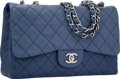 "Luxury Accessories:Bags, Chanel Blue Quilted Caviar Leather Jumbo Single Flap Bag withSilver Hardware. Excellent Condition. 12"" Width x 8""Hei..."