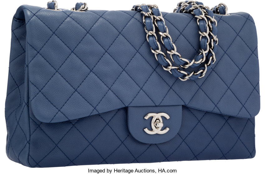 7dad375d5141 Chanel Blue Quilted Caviar Leather Jumbo Single Flap Bag