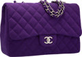 "Luxury Accessories:Bags, Chanel Purple Quilted Wool Jumbo Flap Bag with Silver Hardware.Excellent to Pristine Condition. 12"" Width x 8""Height..."